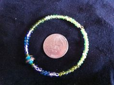 Bracelet/Memory Wire Beaded Bracelet by QuiltsFor11Q on Etsy, $8.75