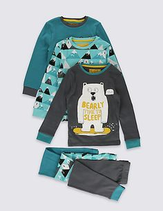 3 Pack Long Sleeve Pyjamas (1-8 Years) | M&S