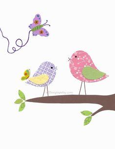 Girl Nursery Art Kids Wall Art Baby Girl Purple Pink by vtdesigns, $14.00