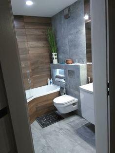Kolor płytek szary i drewnopodobne Bathroom Design Luxury, Bathroom Design Small, Modern Bathroom, Bathroom With Shower And Bath, Bathtub Decor, Bathroom Showrooms, Bathroom Plans, Elegant Dining Room, Amazing Bathrooms