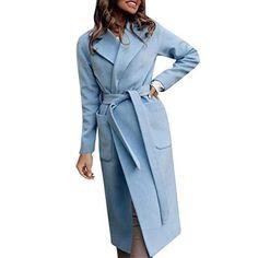 Elegant Blue Coat with Belt Long Trench Coat, Leather Trench Coat, Belted Coat, Winter Coats Women, Coats For Women, Jackets For Women, Ladies Coats, Parka, Basic Hoodie