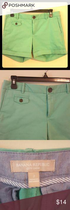 Banana Republic Shorts!! City Chino Mint Green  Inseam 5 inches Banana Republic Shorts