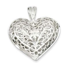 Sterling Silver Filigree Heart Charm  #Fashion #Silver #Heart #Charm  http://www.icecarats.com