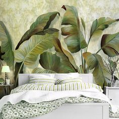 Plant Wallpaper, Wall Wallpaper, Bedroom Wallpaper, Cleaning Walls, Tropical Plants, Tropical Design, Bedroom Art, Trendy Bedroom, Make Design
