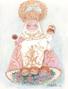 Ilustracion Virgen de Covadonga de Asturias en acuarela con el manto en rosa. Formato lamina para cuadro,estampa, bolsa o mochila.