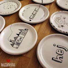 diy plates draw drawing - B L O G - http://herligheder.blogspot.com *herligheder