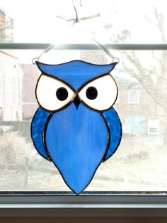 Owl Stained Glass Suncatcher - Blue Glass Owl - Bird Ornament - Window Decor - Nature Decor - Housewarming Gift - Birthday Gift - Horned Owl by StainedGlassYourWay on Etsy