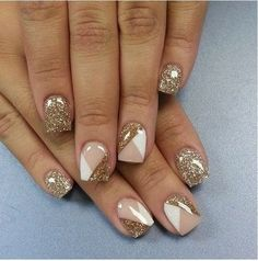 Nude Nails with glitter polish Nailart #diagonal #whitenails - bellashoot.com