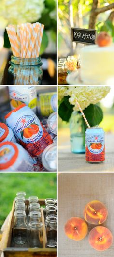 Pretty peach party details.