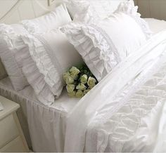 FADFAY Home Textile,Hight Quality Cotton White Ruffle Bedding Sets,Beautiful Snow White Ruffled Lace Duvet Cover Bedding Sets White Ruffle Bedding, Ruffle Duvet, Cotton Bedding Sets, Queen Bedding Sets, Lace Ruffle, Ruffles, Dust Ruffle, Comforter Cover, Duvet Bedding