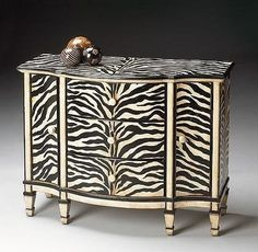 Add a bold, eye-catching storage solution to your hall, entryway, or living room with the Butler Console Cabinet - Zebra-stripe . Animal Print Furniture, Animal Print Decor, Animal Prints, Funky Painted Furniture, Cool Furniture, Painted Dressers, Painted Chest, Furniture Design, Buffets