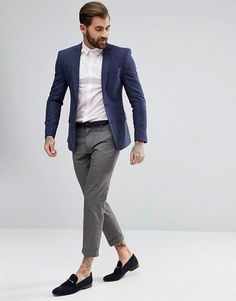 Browse online for the newest ASOS DESIGN wedding super skinny suit jacket in blue micro check styles. Shop easier with ASOS' multiple payments and return options (Ts&Cs apply). Hipster Style Outfits, Hipster Fashion, Stylish Suit, Stylish Mens Fashion, Stylish Clothes, Stylish Menswear, Blazer Outfits Men, Men's Outfits, Work Outfits