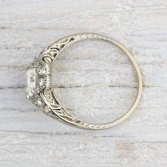 1.02 Vintage Asscher Cut Art Deco Engagement Ring | Vintage & Antique Engagement Rings | Erstwhile Jewelry Co NY