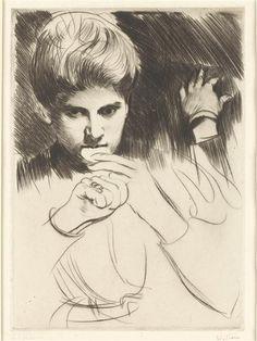 Femme mangeant un biscuit. Etude de main  Auteur :  Helleu Paul César (1859-1927)