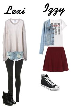 """""""My sisters look"""" by stylejuliet26 ❤ liked on Polyvore featuring Topshop, One Teaspoon, Tommy Hilfiger and Converse"""