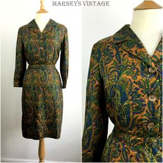 1950s Dress - 50s Shirtwaist Dress - Paisley Silk Dress - 50s Tea dress - Medium - UK 12 / US 8 / EU 40 - by Marneys on Etsy