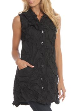 """Stretch Taffeta Button Down Tunic in black by Samuel Dong $238 - $35 @Beyond the Rack. Button front closures. Ruffle detail at collar. Detachable belt. Textured detail throughout. Pockets at front. Fit: True To Size. 100% Polyester. Model Meas: 5'9.5"""" Height, 24"""" Waist, 34.5"""" Hips, 34"""" Bust. Model Is Wearing Size: Small."""