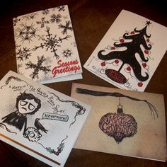 Gothic Christmas Set of 4 Greeting Card Pack A2 by Agorables Rulers of the Undead Zombies 4x5.5. $7.95, via Etsy.
