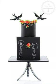 Chalkboard engagement cake --- so awesome!