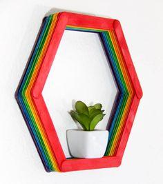 Modern Shelf DIY. Making a small hexagon shelf out of popsicle sticks. Rainbow shelves. Home DIY   Modern Popsicle Shelf   www.madewithhappy.com