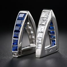 Art Deco Platinum Sapphire and Diamond Cufflinks, ca. 1930s