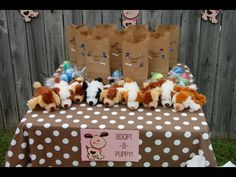 1st birthday, puppy party, dog party, party favors, adopt-a-puppy station