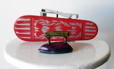 Vintage Tin Toy Ironing Board & Iron - 1970s Portugal