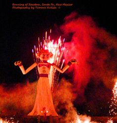 """The burning of the Zozobra takes place once a year in Santa Fe, New Mexico. It is usually held the Friday before Labor Day at the beginning of Fiestas de Santa Fe, where """"Old Man Gloom"""" is said to remove your worries via his burning in a large bonfire. During the show, dances will perform, loud music is played, and Zozobra, Old Man Gloom, moves his head and arms, and emanates loud groans for us all, as he takes away our worries and troubles for another year!"""