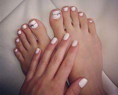 White Nails n toes! # white #whitenails #whitetoes #nailart #bow #love
