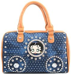 30d4add54d22 Denim Rhinestone Bling Studded Betty Boop Leatherette Handbag Purse