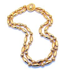 SALE now in progress: Chain Strung, Two Strand Gold Electroplate Beaded Necklace