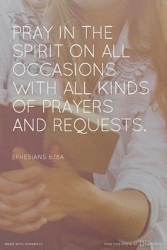 Pray in the Spirit on all occasions with all kinds of prayers and requests. Amen! www.reachavillage.org