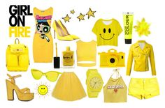 yellow sunshine by lizzynupa on Polyvore featuring moda, Moschino, Wet Seal, Sans Souci, S.W.O.R.D., BCBGeneration, Cape Robbin, Gianvito Rossi, Nixon and Italia Independent