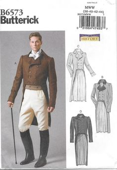 Schnittmuster Herren Frack Steampunk History Butterick Source by Coat Pattern Sewing, Vintage Sewing Patterns, Dot Patterns, Design Patterns, Jane Austen, Teddy Bear Clothes, Frack, Stylish Jackets, Costume Patterns