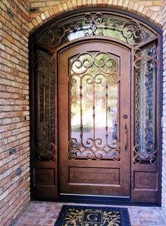 Beau Eyebrow Arch Wrought Iron Door + Sidelites+ Transom Surround Unit.  Aaleadedglass.com