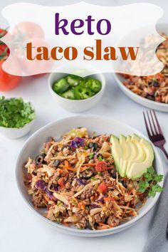 Craving tacos on the keto diet? Try this easy keto taco salad for a quick weeknight dinner. It's packed with yummy low-carb Mexican ingredients like salsa, avocado, seasoned ground beef, and shredded cheese. Quick And Easy Appetizers, Healthy Appetizers, Keto Taco Salad, Coleslaw Salad, Vegetarian Recipes, Healthy Recipes, Quick Weeknight Dinners, Casserole Recipes, Crockpot Recipes