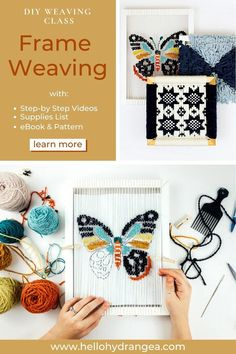 Join my Brand NEW weaving class - Frame Weaving. In this weaving class you'll learn 3 techniques to warp your frame and 3 project techniques to try out. AND you DON't need a loom! The class is aimed at the intermediate weaver. The class comes complete with 6 videos, 17 pattern and a 46-page ebook. Diy Projects For Beginners, Diy Art Projects, Weaving Projects, Mason Jar Crafts, Mason Jar Diy, Dollar Store Crafts, Crafts To Sell, Construction Paper Crafts, Diy Wedding Reception