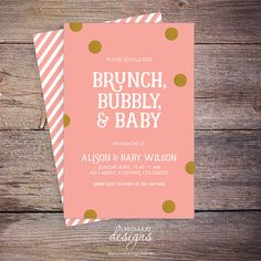 Brunch Bubbly & Baby Shower Invitation Pink by LarissaKayDesigns