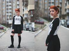 Vladyslava Kozachyshche - Zara Skirt, Stradivarius Hose, Nike Sneakers, Rockfellow Shirt - Tumblr Girl