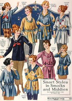 Smart Styles in Smocks and Middies ~ WWI Era fashions from Sears & Roebuck catalogue, ca. 1910s