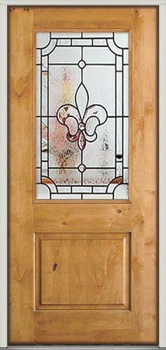 Half Lite Fleur De Lis Knotty Alder Prehung Wood Door Unit Wood Front