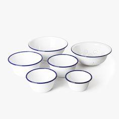 Mixing bowls set Falcon Enamelware • available on HNST.LY #enamel #cooking #hnstly #bluerim #whitedish #minimalist #timeless #pragueshopping #designinprague #design #praguedesign #designstore #hnstlystore Prague Shopping, Falcon Enamelware, Kitchenware, Tableware, Mixing Bowls, Bowl Set, Baking, Minimalist, Blue