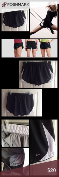 Nike Women Performance Shorts Gently worn. Size chart and measurements in last photo. Black shorts with gray mesh on each side. Elastic waist. Hidden pocket for key or credit card. Make offer loves. Nike Shorts