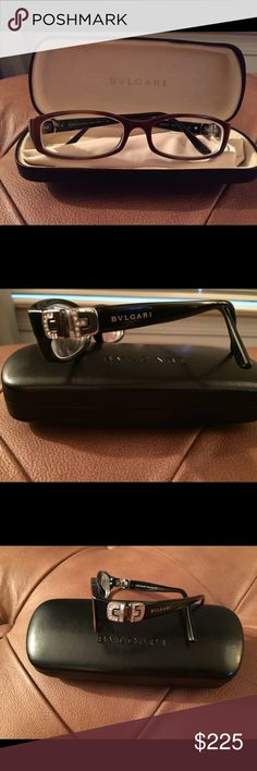 Bvlgari Women's Eyeglasses Dark brown  Women's Eyeglasses with crystal embellishment on the temples. Size 50/6/130. Style 4016B.  Comes with genuine case. Worn once. Has prescription lenses in them but can be easily changed Bvlgari Accessories Glasses
