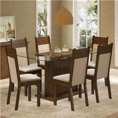 Conjunto Sala de Jantar Mesa e 6 cadeiras Atlanta Madesa - Conjuntos de Mesas e Cadeiras no Pontofrio.com