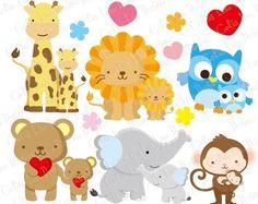 Clipart de animales, imágenes prediseñadas de amor bebé, papá y bebé del bebé / madre y el bebé / elefante, jirafa, León, oso, mono, búho imágenes prediseñadas (A022)