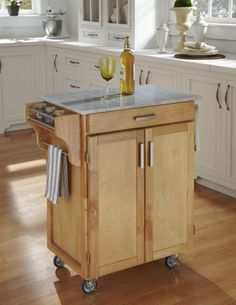 Home Styles Cuisine Cart Natural Finish with Marble Top - Furniture & Mattresses - Dining Room & Kitchen Furniture - Kitchen Carts & Islands...
