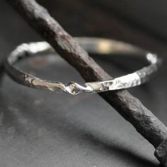 silver bangle bracelet wrought sterling hammered and