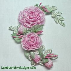 Ribbonwork Brooch Pin Pink Roses Ribbon Work Victorian Applique