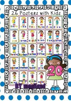 NUMBERS 0-20 (52 POSTERS FOR THE CLASSROOM) 50% OFF FOR 48 HOURS - TeachersPayTeachers.com